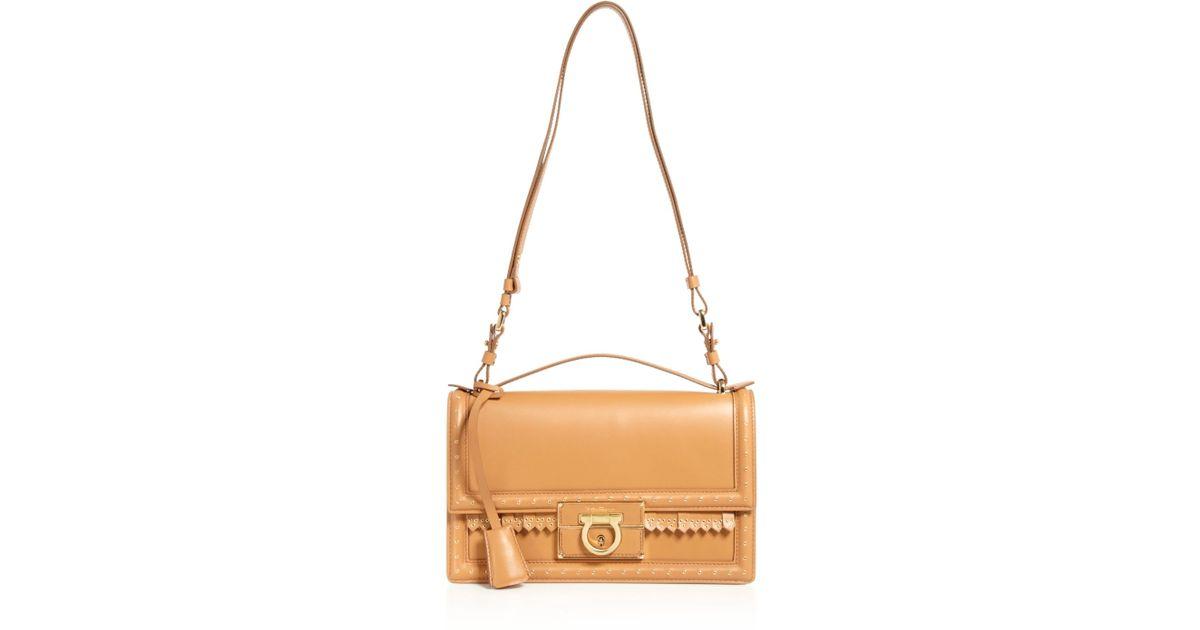 Lyst - Ferragamo Bloomingdale s Exclusive Aileen Grommet Fringe Shoulder  Bag in Brown 785b0e243727e