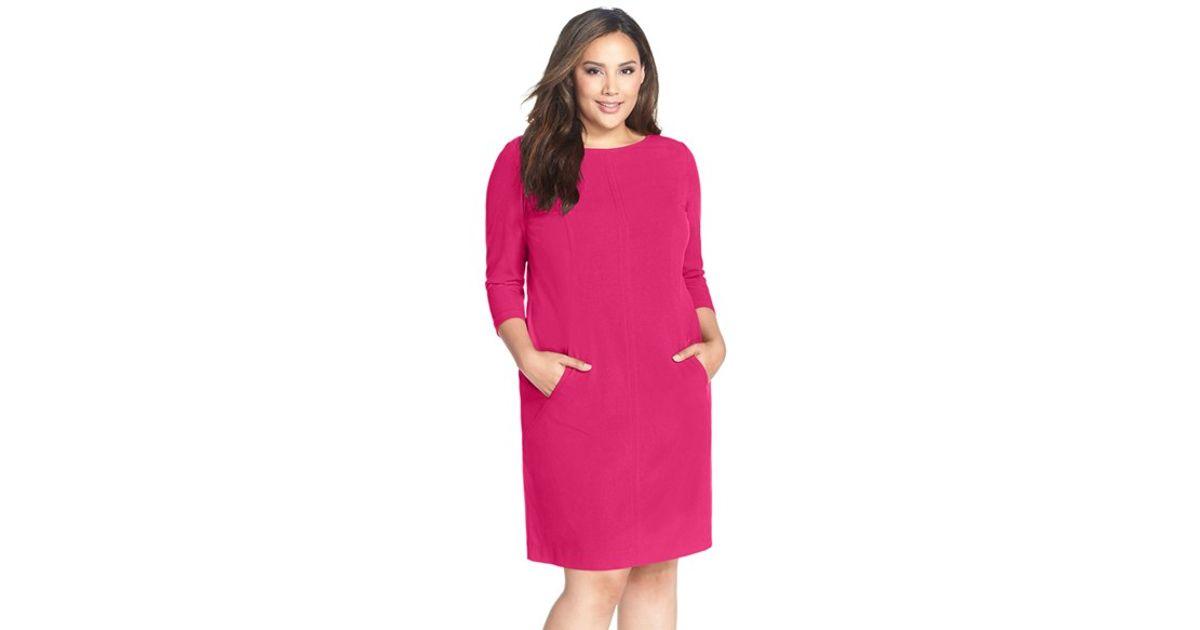ffe170997e7f Tahari Seamed A-line Dress in Pink - Lyst