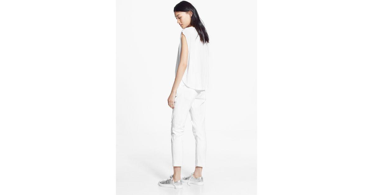 b988b53c21 Lyst - Mango Cropped Slim-Fit Nancy Jeans in White