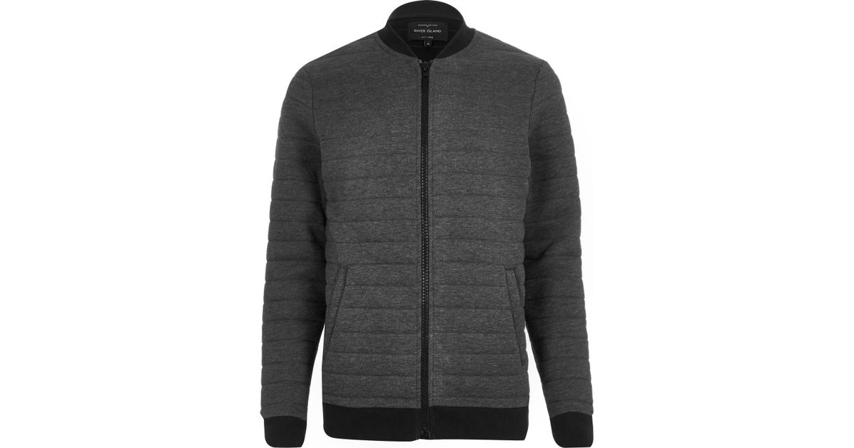 River Island Dark Grey Quilted Bomber Jacket In Gray For