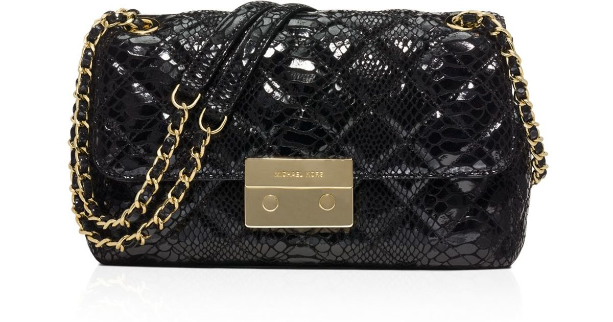 38c233390b15 Lyst - MICHAEL Michael Kors Large Sloan Quilted Patent Embossed Python  Shoulder Bag in Black