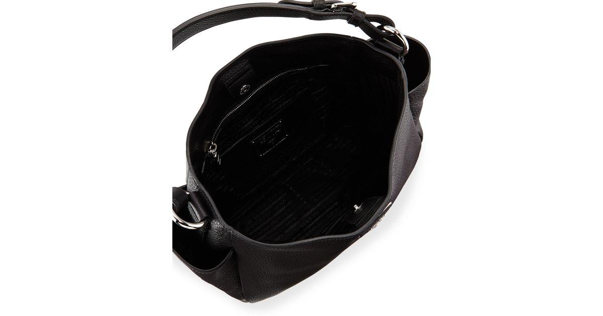 91bf1b72b8ac Prada Vitello Daino Single Strap Tote Bag in Black - Lyst