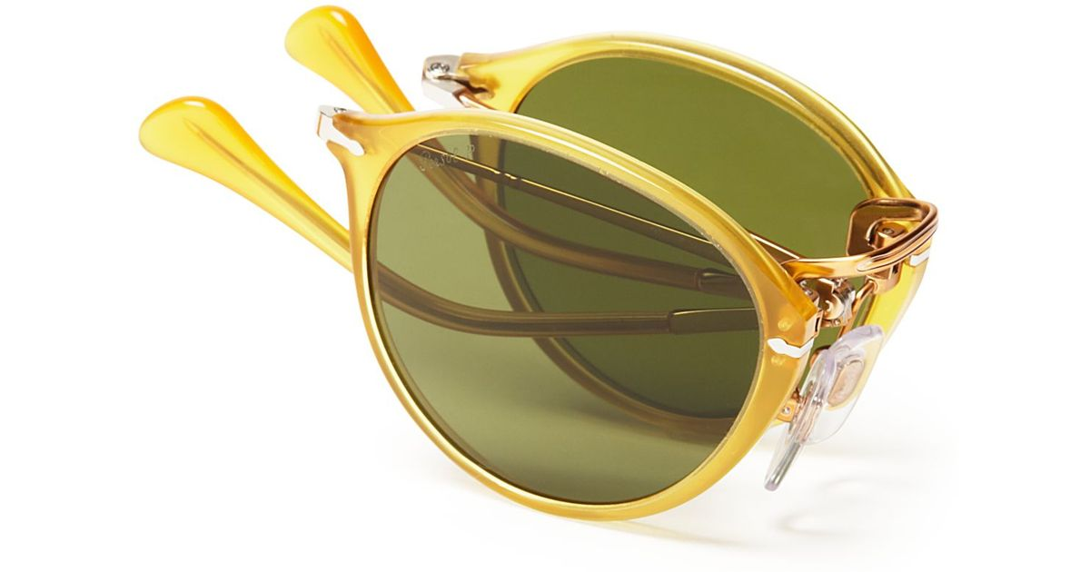 06c596ecf8 Persol Polarized Foldable Round Sunglasses in Yellow for Men - Lyst