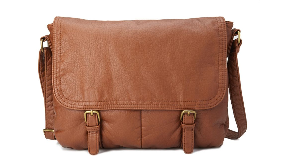 Forever 21 Faux Leather Messenger Bag in Brown | Lyst