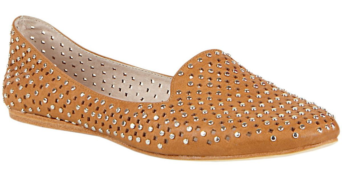 1f72595289a Steve Madden - Brown Pompei Flats With Studded Accents - Lyst