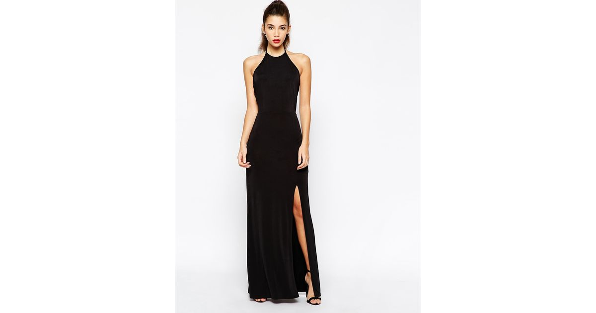 80cd53d9f1bc Love Halterneck Body-Conscious Maxi Dress With Open Back in Black - Lyst
