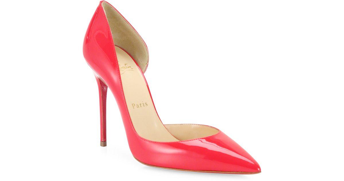 lyst christian louboutin iriza patent leather half d orsay pumps rh lyst com