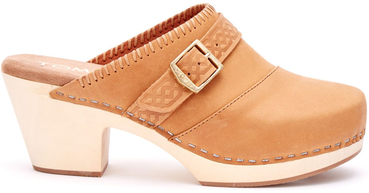 3d66b82f441 Lyst - TOMS Brown Leather Women s Elisa Clogs in Brown