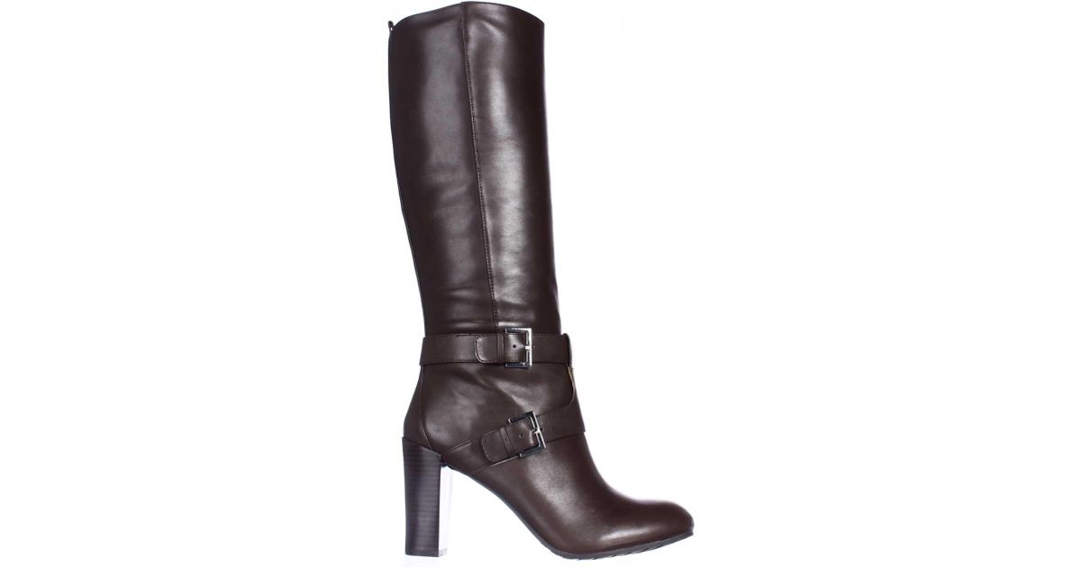 nine west skylight knee high boots in brown lyst