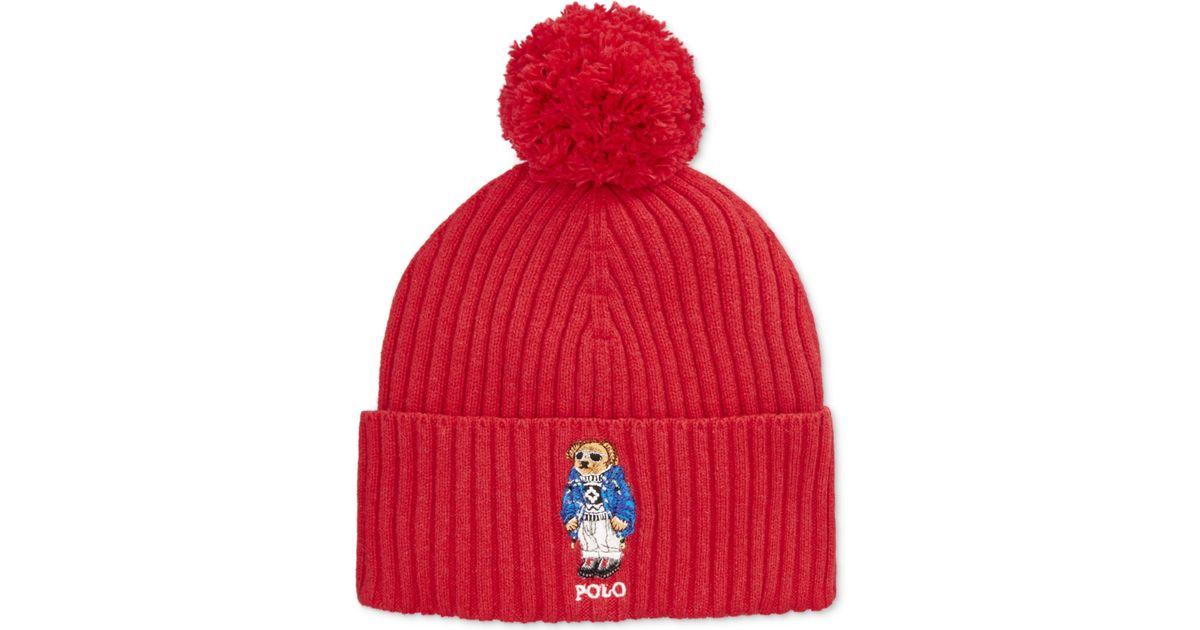 8bbc0cee Polo Ralph Lauren Ski Bear Pom-knit Cuffed Beanie in Red for Men - Lyst
