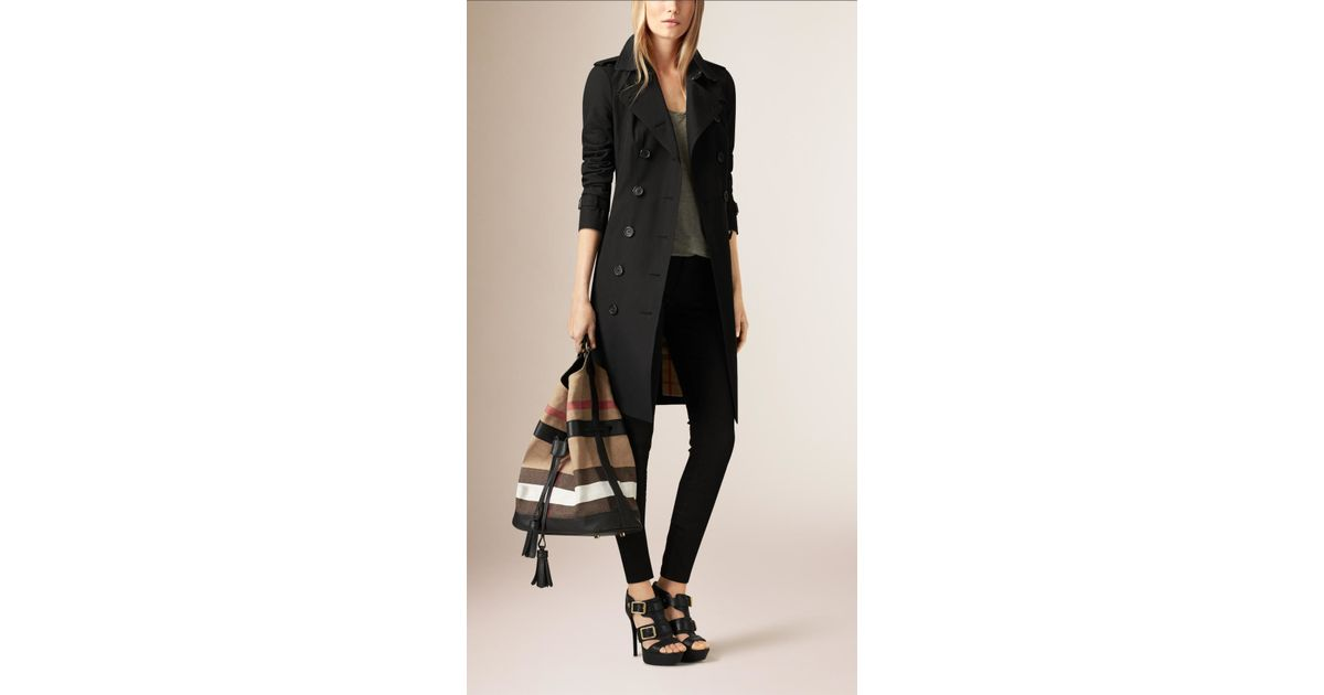 Lyst - Burberry The Large Ashby Canvas Check And Leather Bag in Black d124149d142df