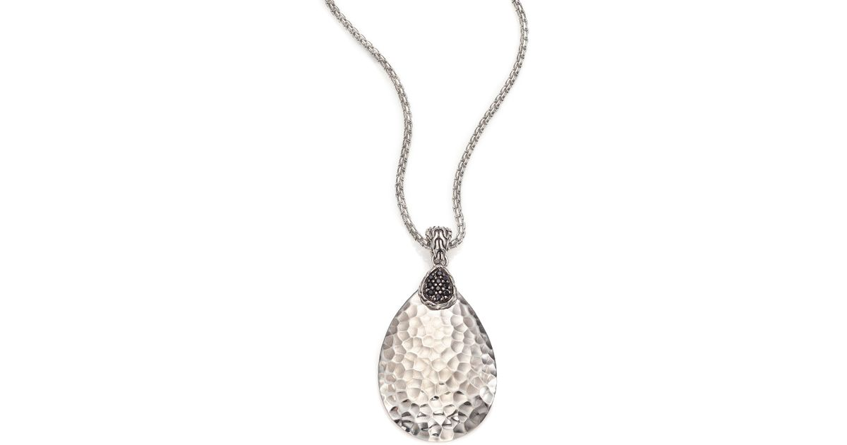 Lyst john hardy classic chain black sapphire sterling silver lyst john hardy classic chain black sapphire sterling silver teardrop pendant necklace in black mozeypictures Gallery