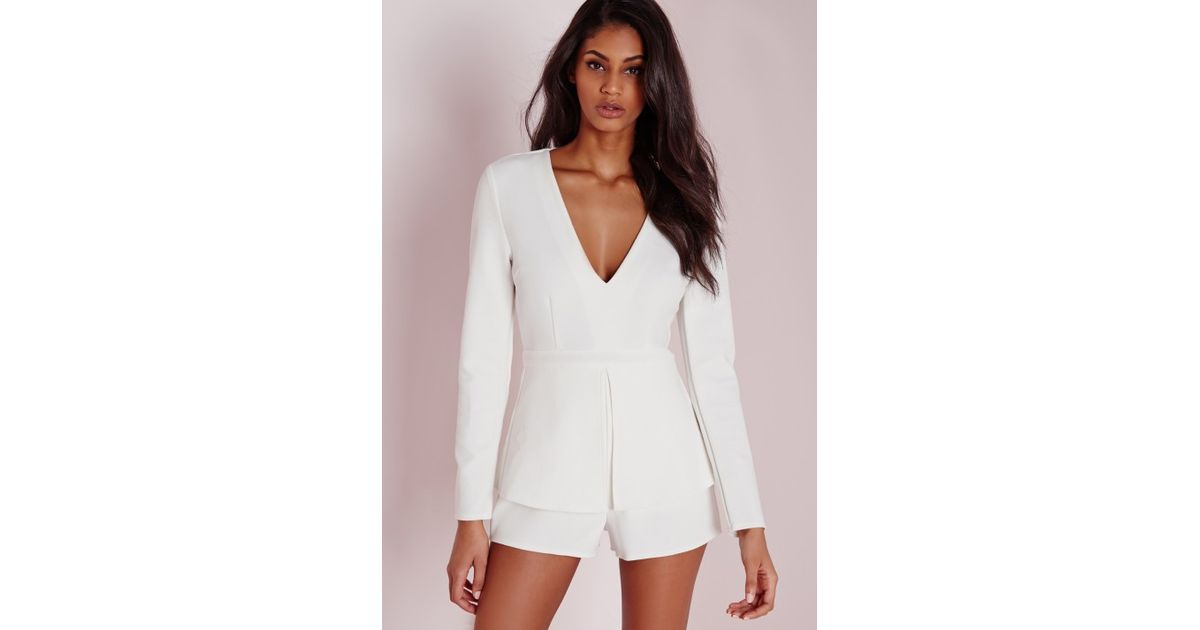 0a96e76ee877 Lyst - Missguided Plunge Peplum Playsuit White in White