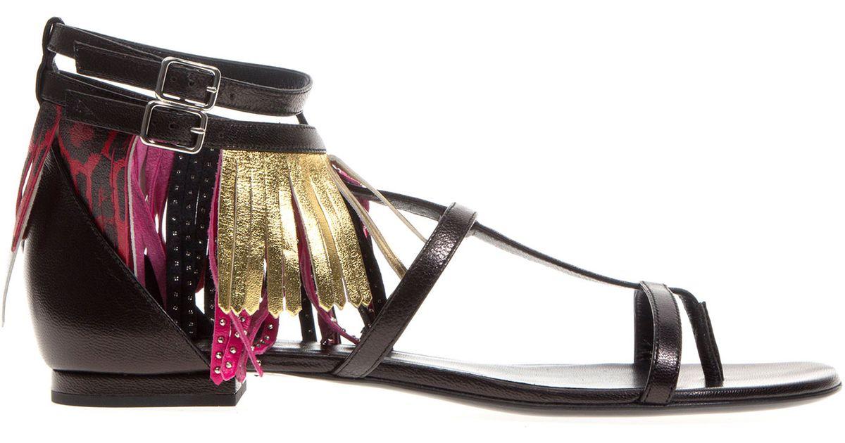 Saint Laurent Multicolor Nu Pieds Sandals In Black Lyst
