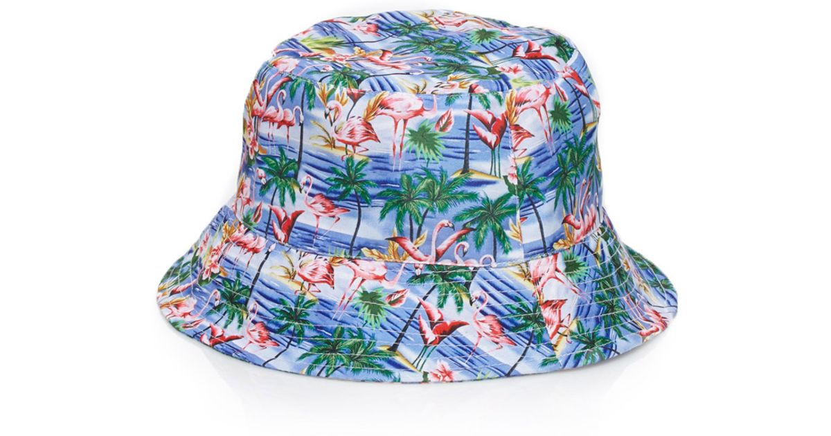 Forever 21 Flamingo Print Bucket Hat in Blue - Lyst 423b1097913