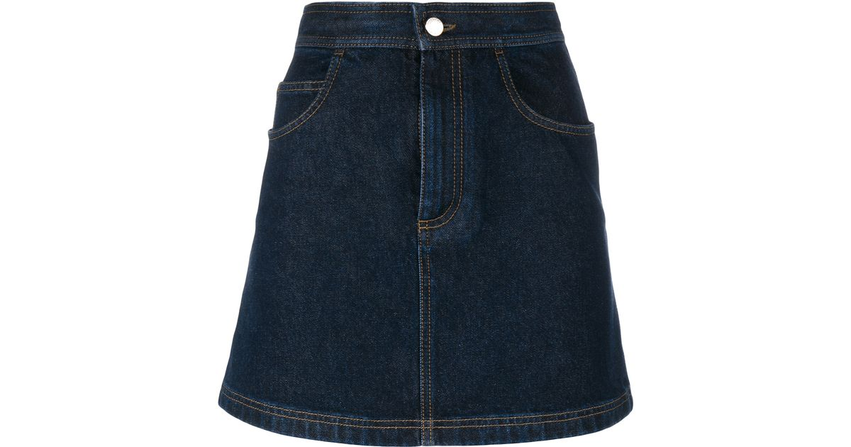 givenchy cotton denim mini skirt in blue lyst