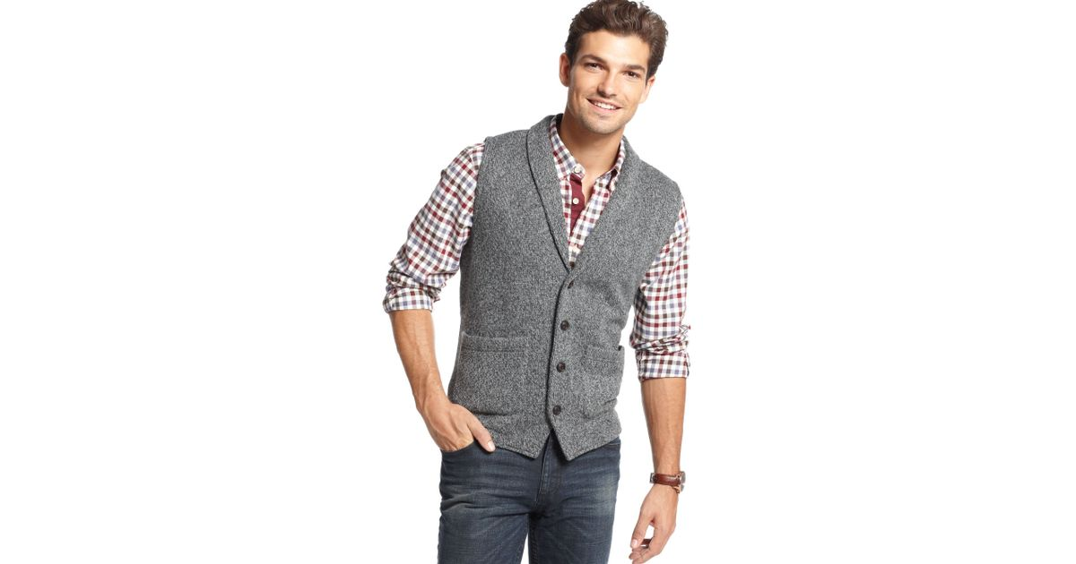 Tommy hilfiger Shawl Collar Button-down Sweater Vest in Gray for ...