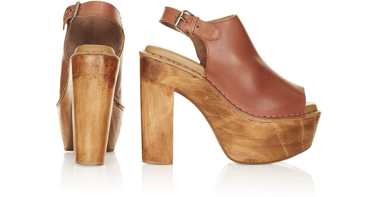 3716e79a751 TOPSHOP Sunshine Wooden Heel Shoes in Brown - Lyst