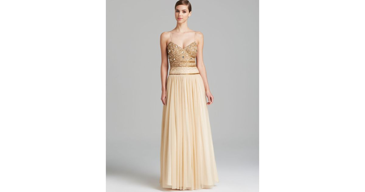 Lyst - Aidan Mattox Gown Panina Sequin Bodice Open Back with Tulle ...