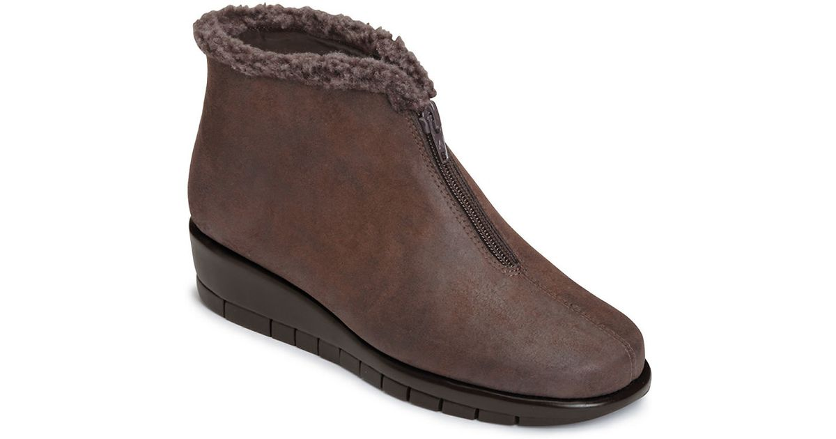 aerosoles nonchalant faux fur trimmed ankle boots in brown