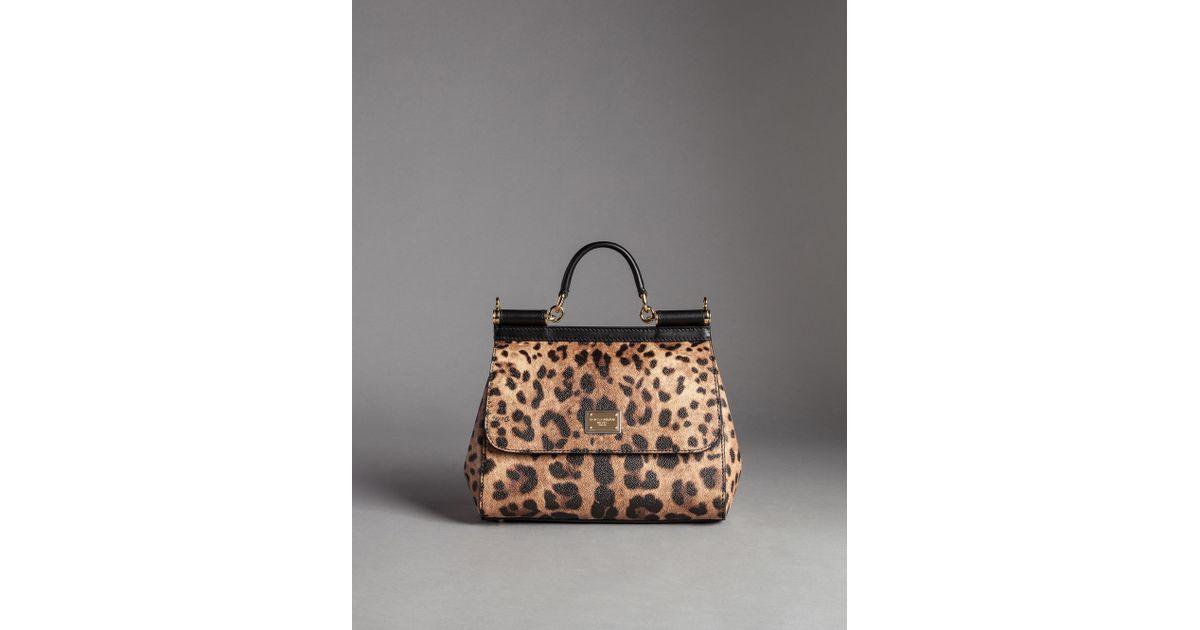13995a8dbc9b Lyst - Dolce   Gabbana Medium Sicily Bag In Leopard Textured Leather in  Brown