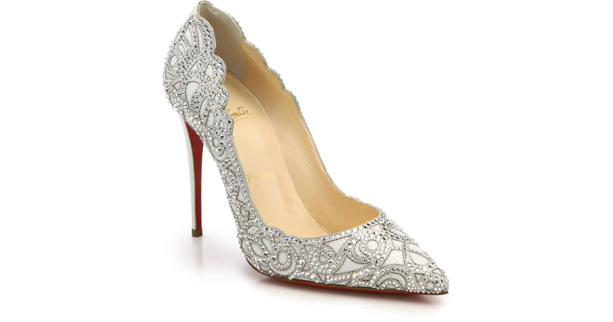 christian louboutin embellished mesh pumps