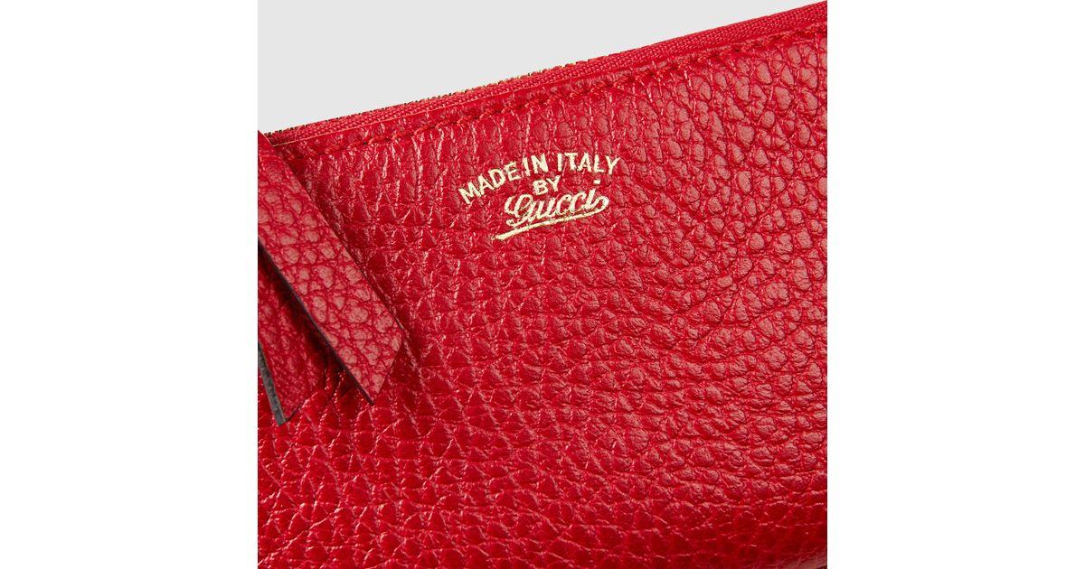 e5ab6822e89e Lyst - Gucci Swing Leather Coin Purse in Red