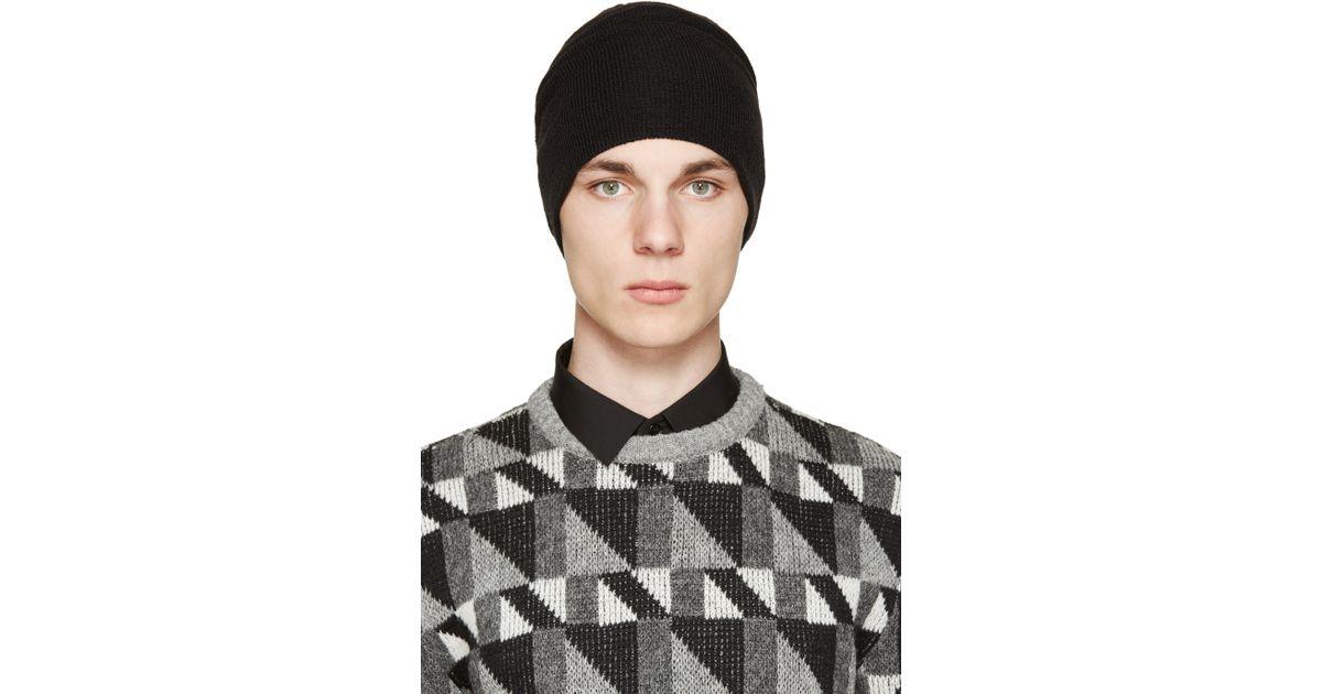 a95fc7e7092 Saint Laurent Black Wool Knit Beanie in Black for Men - Lyst