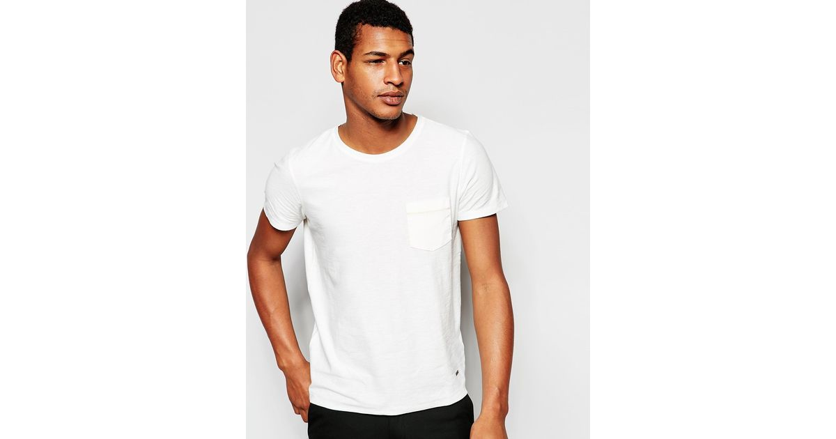 boss orange t shirt with cord pocket in white for men lyst. Black Bedroom Furniture Sets. Home Design Ideas