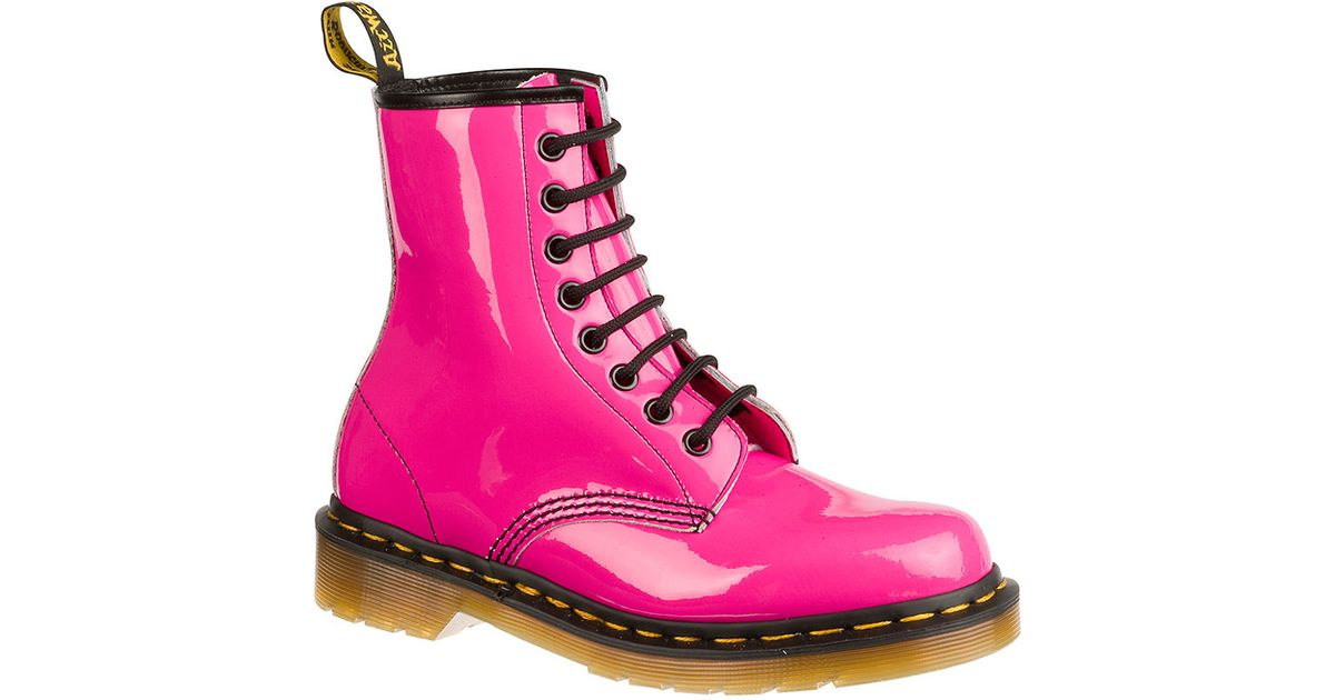 dr martens originals 1460 patent leather boots in pink lyst