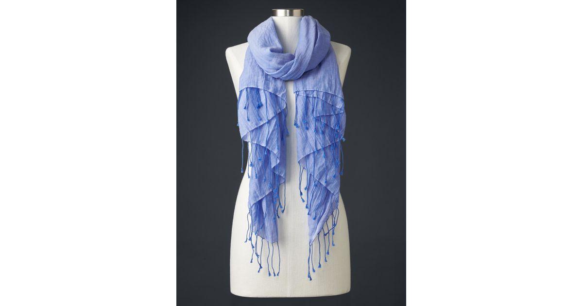 gap solid fringe scarf in blue tile blue lyst