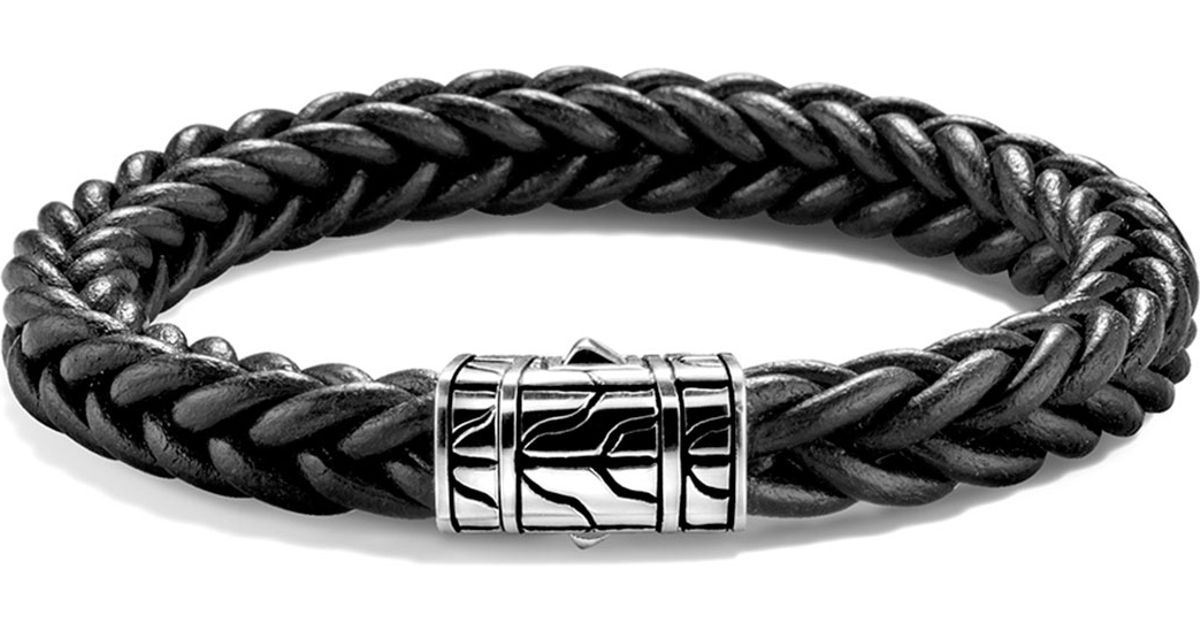 John Hardy Classic Chain Mens Leather Bracelet