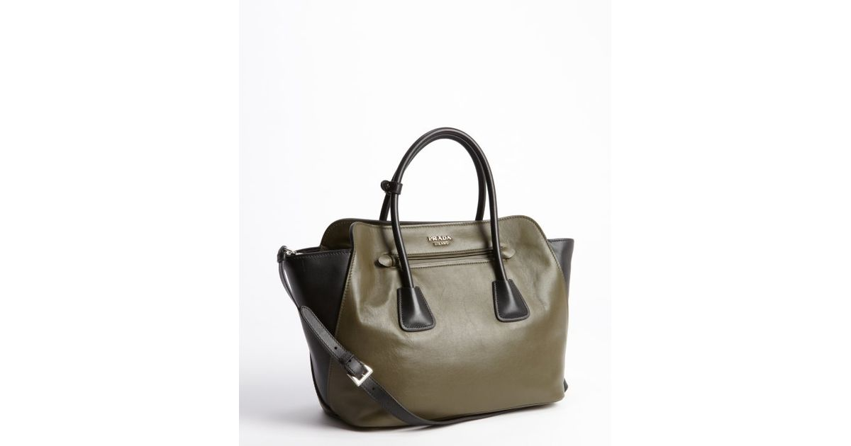 c986c04f1c8a ... switzerland lyst prada army green and black leather top handle bag in  green 95b98 869d6