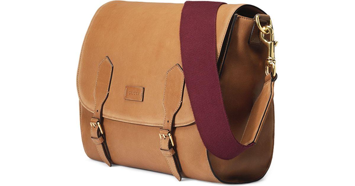 c32cc97da82315 Gucci Men'S Washed Leather Messenger Bag in Brown for Men - Lyst
