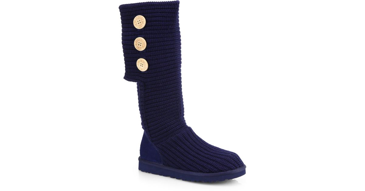 ugg classic cardy knit knee high boots in blue lyst