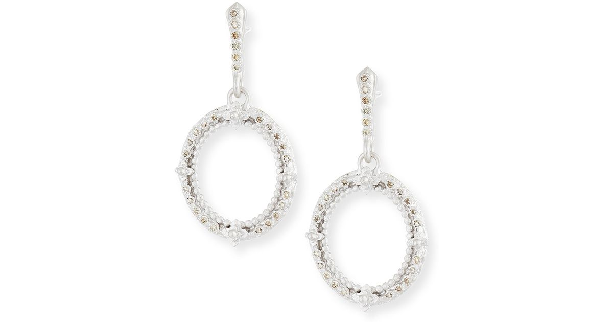 Armenta New World Two-Tone Hoop Earrings with Champagne Diamonds c7qnZ2Yx