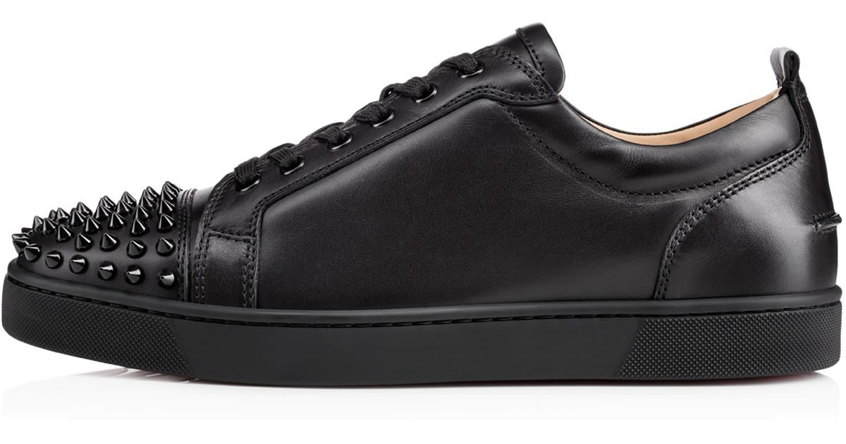 55032bf46871 Lyst - Christian Louboutin Louis Junior Spikes Leather Sneakers in Black  for Men