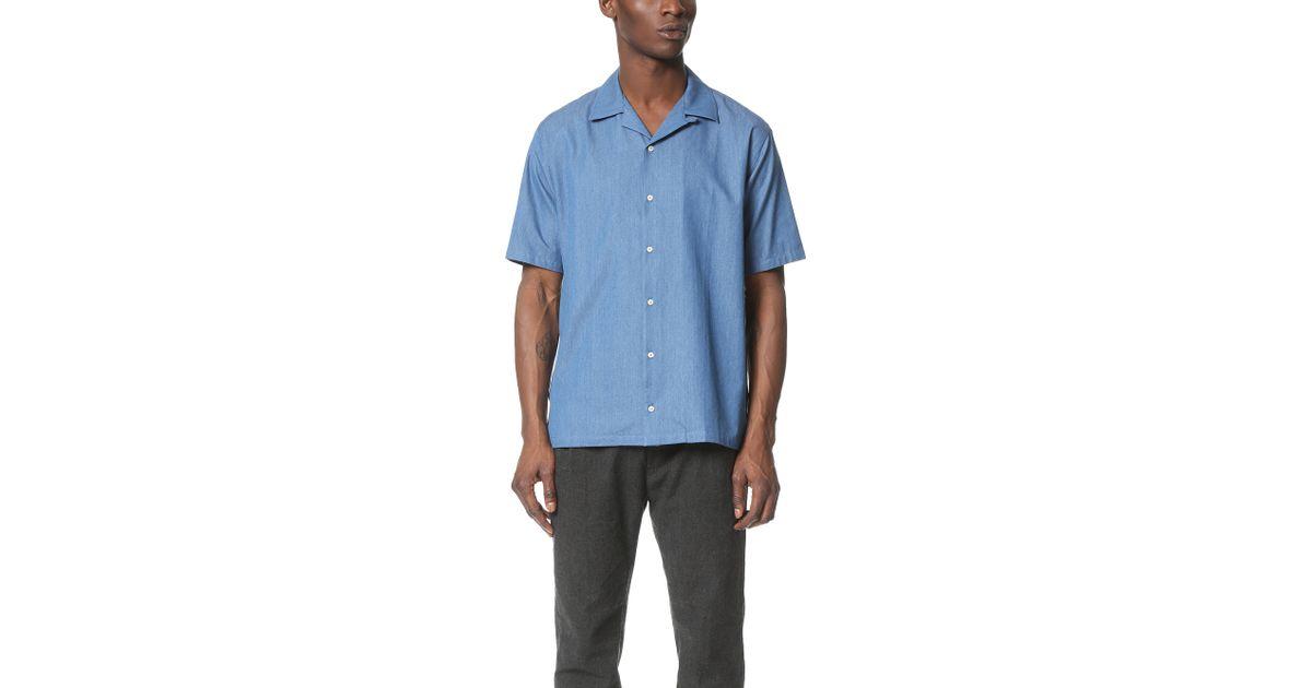 Camo bob short sleeve shirt in blue for men light blue for Light blue short sleeve shirt mens