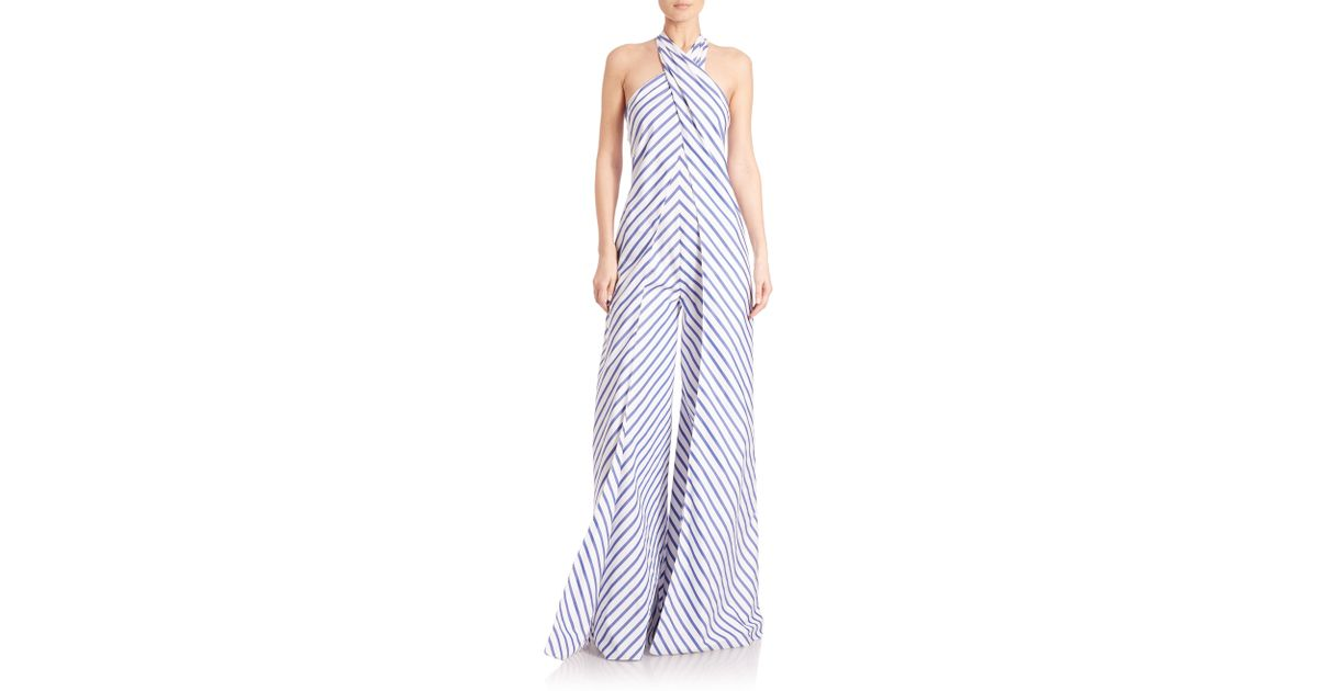 52d41b1750 Lyst - Ralph Lauren Collection Adelaide Striped Wide-leg Halter Jumpsuit in  Blue