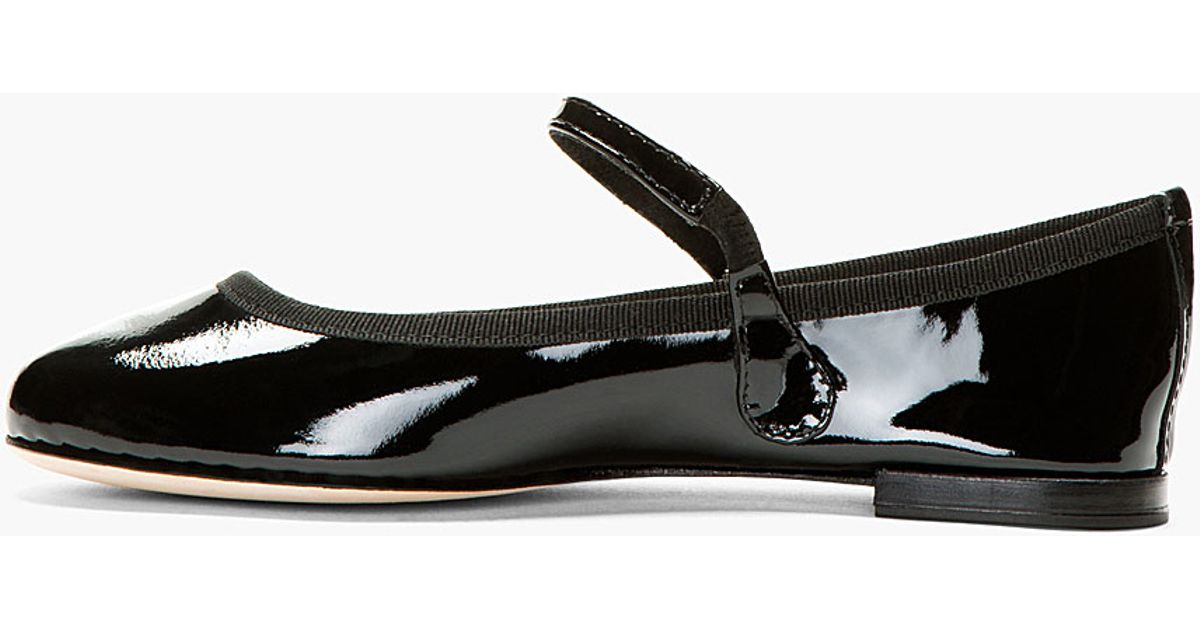 Repetto Black Patent Leather Lio Mary Jane Flats in Black ...