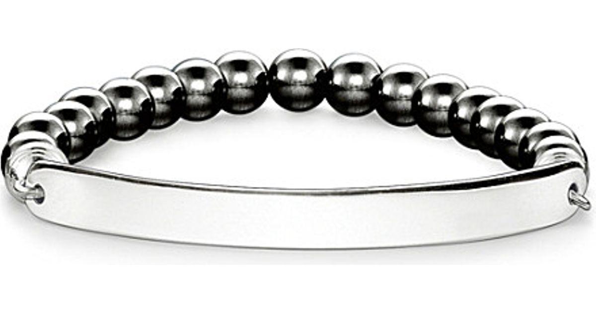 thomas sabo love bridge engraveable haematite bracelet in. Black Bedroom Furniture Sets. Home Design Ideas