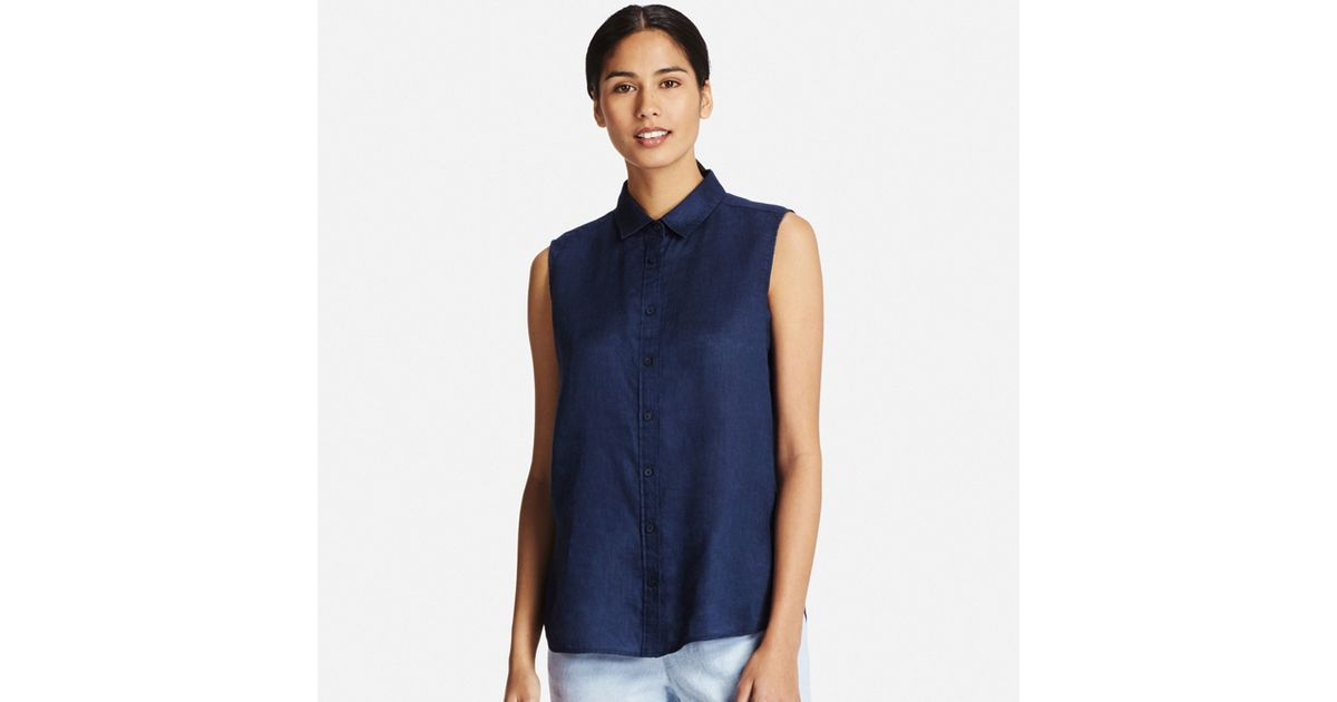 Uniqlo premium linen sleeveless shirt in blue lyst for Uniqlo premium t shirt