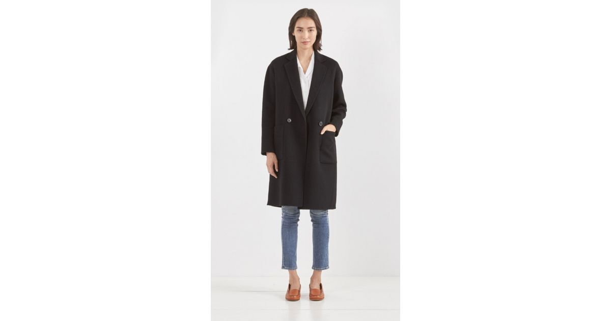Theory Eletkah Wool Cashmere Coat in Black | Lyst