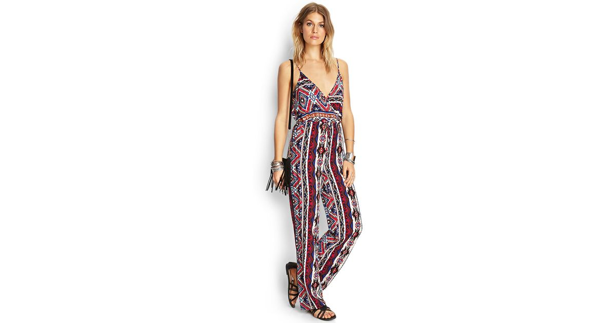 58cffd0fa02 Lyst - Forever 21 Southwestern Print Surplice Jumpsuit