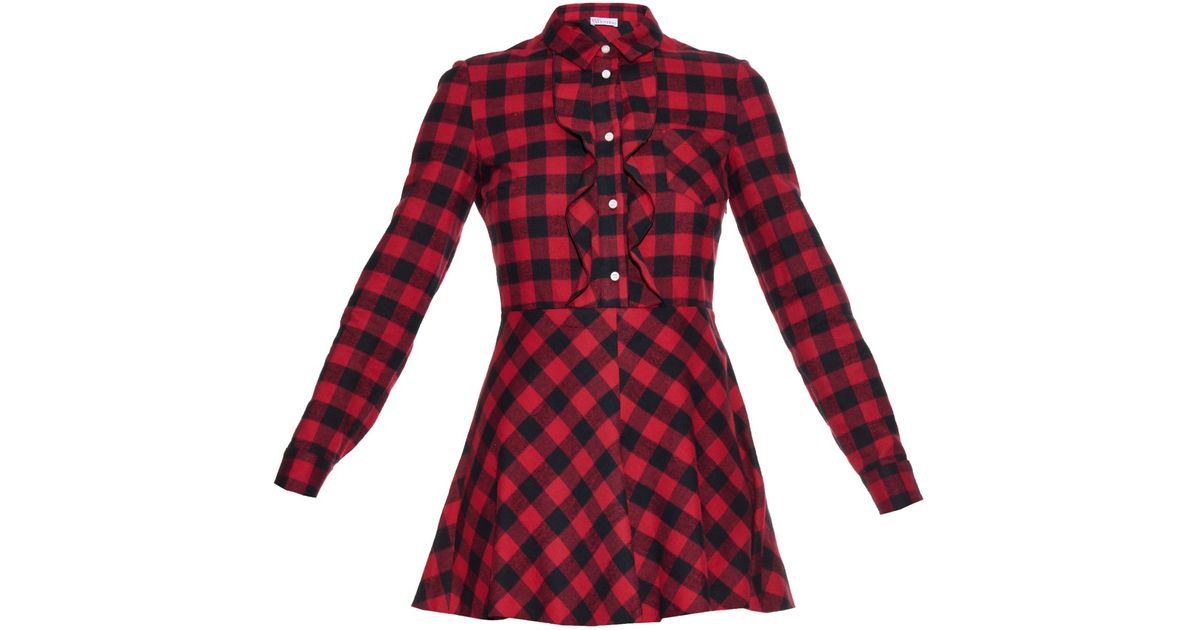 78a186d116509 Lyst - RED Valentino Checked Cotton-Flannel Mini Dress in Black