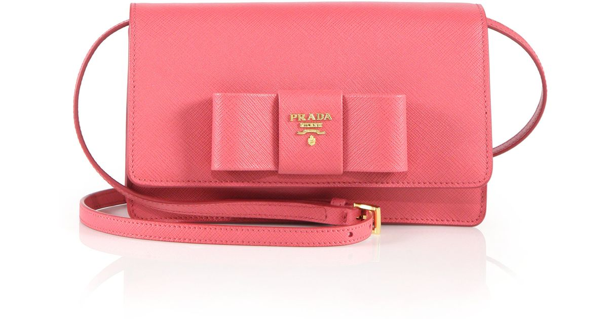 prada black saffiano leather tote bag - Prada Saffiano Lux Bow Crossbody Bag in Pink (PEONIA-PINK) | Lyst