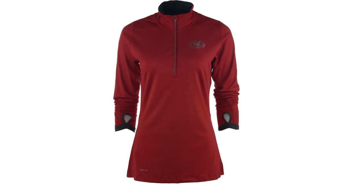 0fab4ef12 Lyst - Nike Women s San Francisco 49ers Element Half-zip Pullover in Red