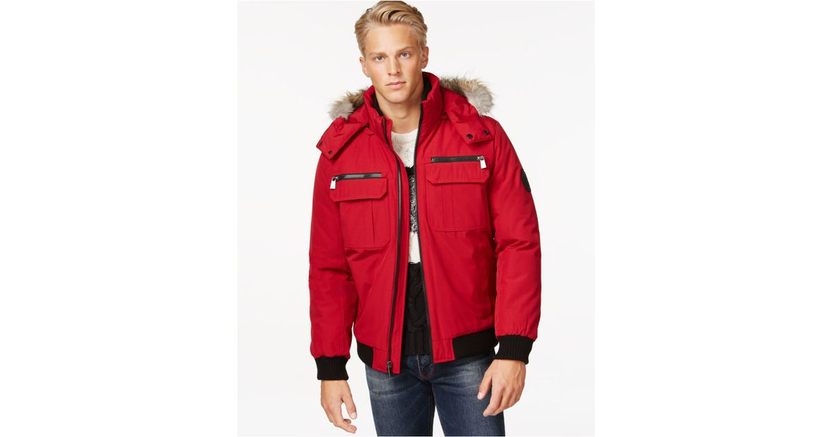 Calvin Klein Bomber Jacket With Faux Fur Hood In Red For