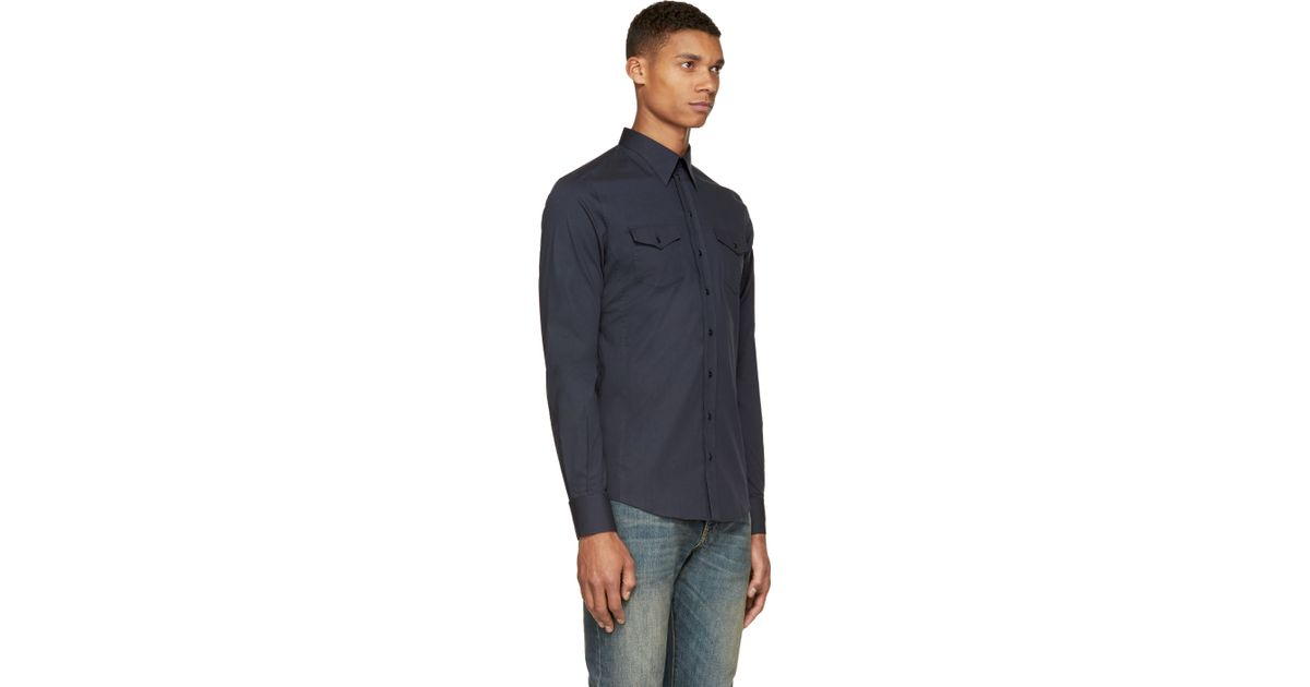 Dolce Gabbana Navy Two Pocket Sicilia Button Up Shirt In