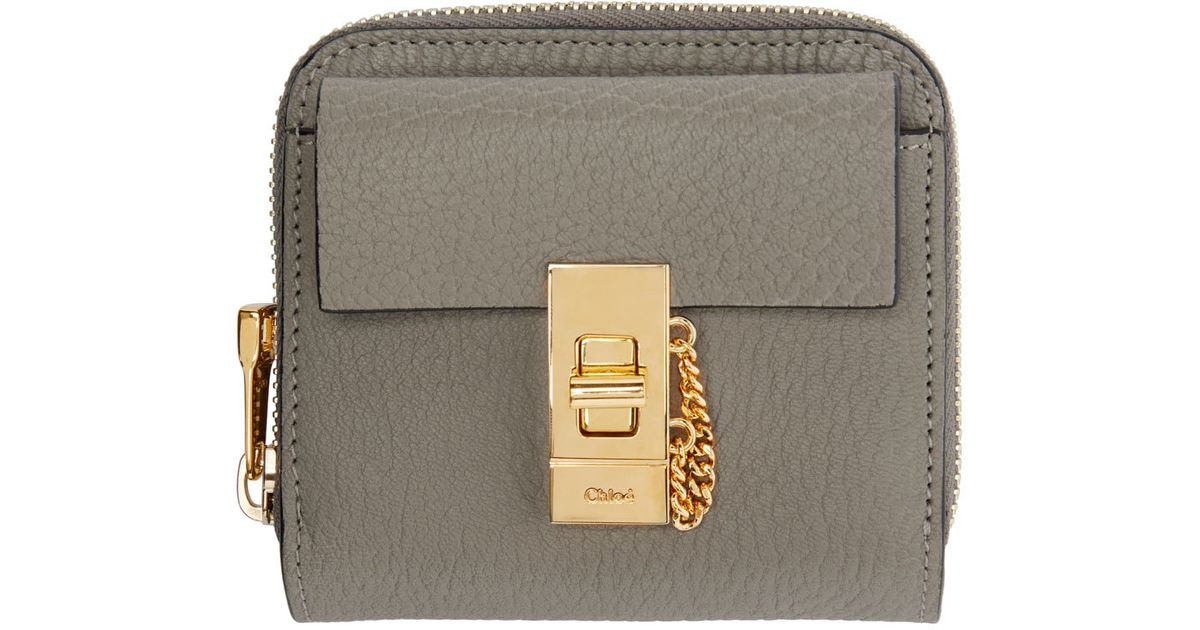Chlo�� Grey Leather Square Drew Wallet in Gray (grey) | Lyst